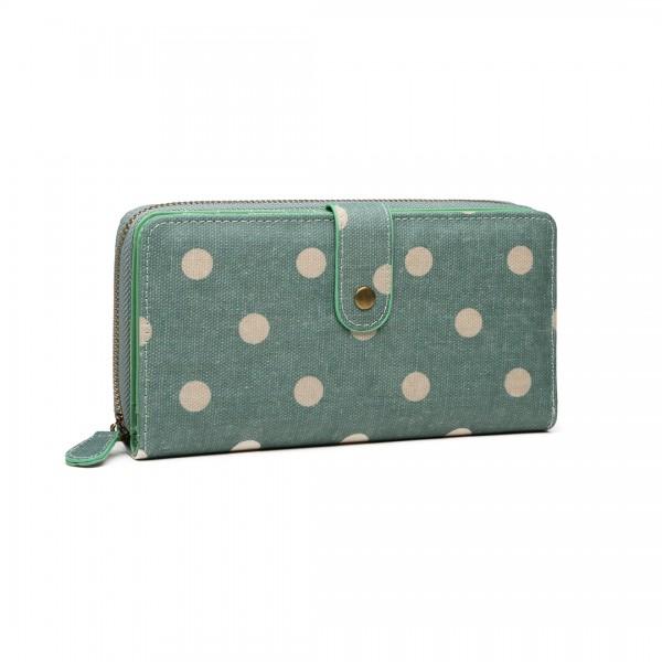 LP6801D2 - Miss Lulu Oilcloth Polka Dot Purse Green