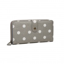 LP6801D2-Miss Lulu oilcloth polke dot purse Grey
