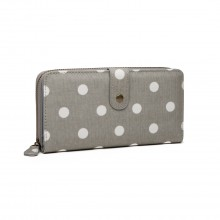 LP6801D2 - Miss Lulu Oilcloth Polka Dot Purse Grey