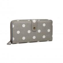 LP6801D2-Miss Lulu porte-monnaie à pois en toile gris