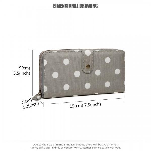 LP6801D2 - Miss Lulu Oilcloth Polka Dot Purse Grey
