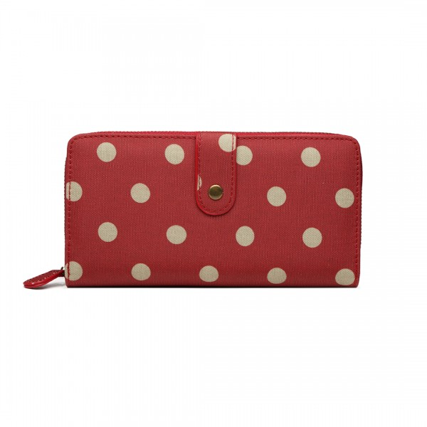 LP6801D2 - Miss Lulu Oilcloth Polka Dot Purse Red