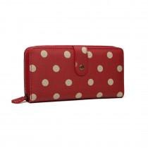 LP6801D2-Miss Lulu oilcloth polke dot purse Red