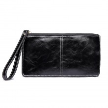 LP6881 - MISS LULU HIGH SHINE LEATHER LOOK ZIPPED LONG PURSE - BLACK
