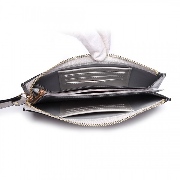 LP6881 - MISS LULU HIGH SHINE LEATHER LOOK ZIPPED LONG PURSE - GREY