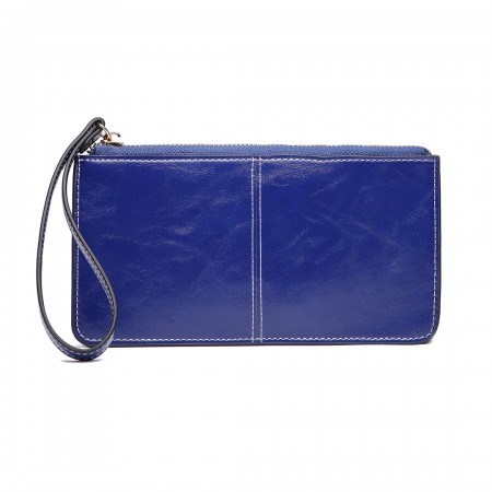 LP6881 - MISS LULU HIGH SHINE LEATHER LOOK ZIPPED LONG PURSE - NAVY