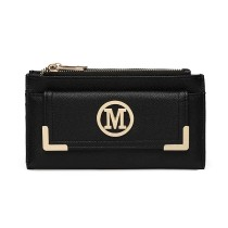 LP6882-MISS LULU CUERO DE PIEL PEBBLED M METAL LOGO LONG PURSE BLACK