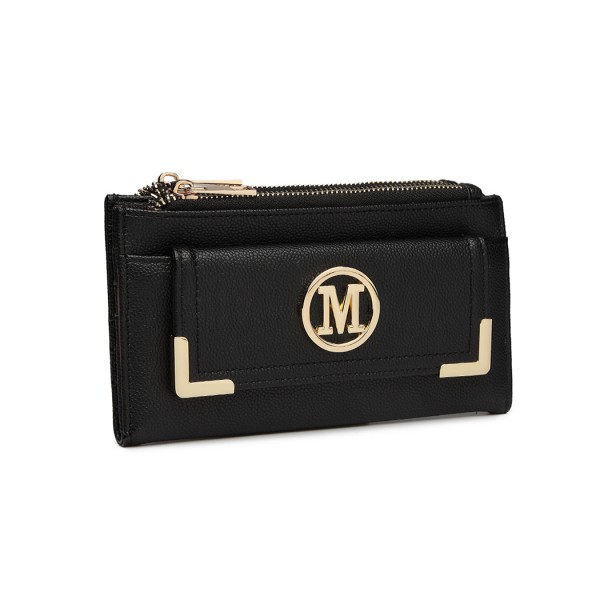 LP6882-MISS LULU PEBBLED LEATHER LOOK M METAL LOGO LONG PURSE BLACK