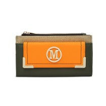 LP6882-MISS LULU PEBBLED LEATHER LOOK M METAL LOGO LONG PURSE GREEN/ORANGE