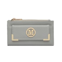 LP6882-MISS LULU CUERO PEQUEÑO LOOK M METAL LOGO LONG PURSE LIGHT GREY