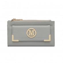 LP6882-MISS LULU PEBBLED LEATHER LOOK M METAL LOGO LONG PURSE LIGHT GREY