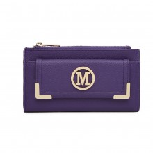 LP6882-MISS LULU PEBBLED LEATHER LOOK M METAL LOGO LONG PURSE PURPLE