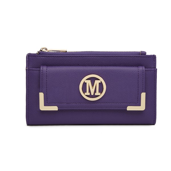 LP6882-MISS LULU CUERO DE PIEL PEBBLED M METAL LOGO LONG PURSE PURPLE