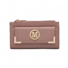 LP6882-MISS LULU PEBBLED LEATHER LOOK M METAL LOGO LONG PURSE PINK