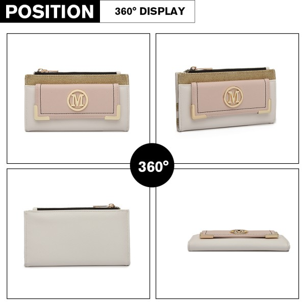 LP6882-MISS LULU PEBBLED LEATHER LOOK M METAL LOGO LONG PURSE WHITE/NUDE