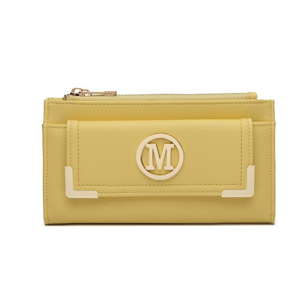 LP6882-MISS LULU PEBBLED LEATHER LOOK M METAL LOGO LONG PURSE YELLOW