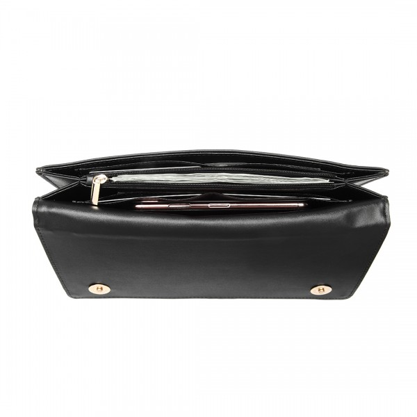 LP6909 - Miss Lulu Multi Use Purse Clutch Mini Shoulder Bag - Black