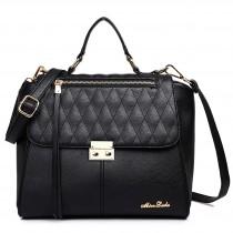 LT1605 - Miss Lulu Textured Leather Look Backpack Handbag Black