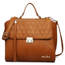 LT1605 - Miss Lulu Textured Leather Look Backpack Handbag Brown