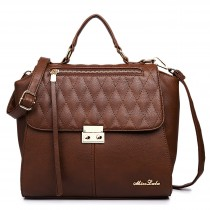 LT1605 - Miss Lulu Textured Leather Look Backpack Handbag Coffee