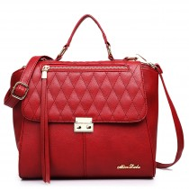LT1605 - Miss Lulu Textured Leather Look Backpack Handbag Red