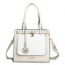 LT1607 - Miss Lulu Leather Look Padlock Shoulder Bag Beige And White