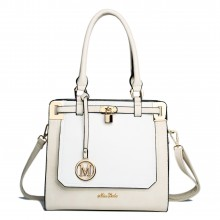 LT1607 - Sac d'épaule en cuir Miss Lulu avec cadenas beige et blanc