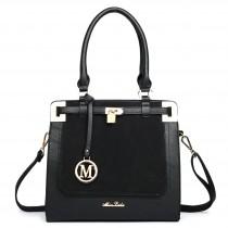 LT1607 - Miss Lulu Leather Look Padlock Shoulder Bag Black And Black