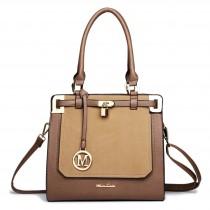 LT1607 - Miss Lulu Leather Look Padlock Shoulder Bag Brown And Light Brown