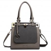 LT1607 - Miss Lulu Leather Look Padlock Shoulder Bag Grey And Grey