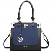 LT1607 - Miss Lulu Leather Look Padlock Shoulder Bag Black And Navy