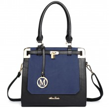 LT1607 - Sac d'épaule en cuir Miss Lulu avec cadenas noir et bleu marine