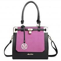 LT1607 - Miss Lulu Leather Look Padlock Shoulder Bag Black And Plum