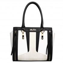 LT1608 - Miss Lulu Leather Look Structured Contrast Snakeskin Shoulder Handbag Black And White