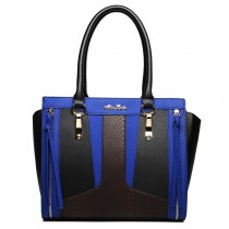 LT1608 - Miss Lulu Leather Look Structured Contrast Snakeskin Shoulder Handbag Black And Blue