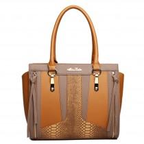 LT1608 - Miss Lulu Leather Look Structured Contrast Snakeskin Shoulder Handbag Brown And Brown