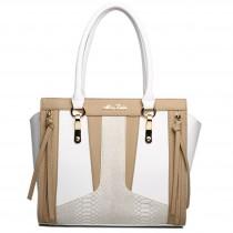 LT1608 - Miss Lulu Leather Look Structured Contrast Snakeskin Shoulder Handbag White And Brown