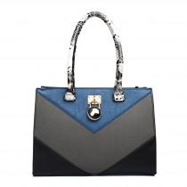LT1609 - Miss Lulu Leather Look Snakeskin Side Padlock Shoulder Handbag Blue