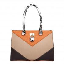 LT1609 - Miss Lulu Leather Look Snakeskin Side Padlock Shoulder Handbag Brown