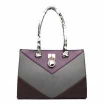 LT1609 - Miss Lulu Leather Look Snakeskin Side Padlock Shoulder Handbag Purple
