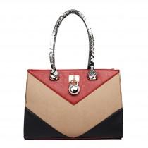 LT1609 - Miss Lulu Leather Look Snakeskin Side Padlock Shoulder Handbag Red