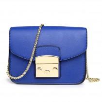 LT1610 - Miss Lulu Textured Leather Look Miniature Satchel Blue
