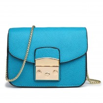 LT1610 - Miss Lulu Textured Leather Look Miniature Satchel Teal