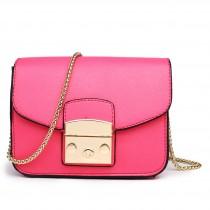 LT1610 - Miss Lulu Textured Leather Look Miniature Satchel Pink