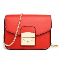 LT1610 - Miss Lulu Textured Leather Look Miniature Satchel Red