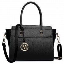 LT1625 - Miss Lulu Leather Look Classic Shoulder Bag Black