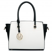 LT1625 - Miss Lulu Leather Look Classic Shoulder Bag Black And White