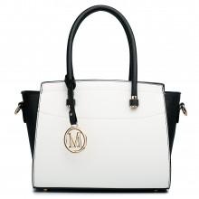 LT1625 - Sac d'épaule en cuir Miss Lulu style classique en noir et blanc