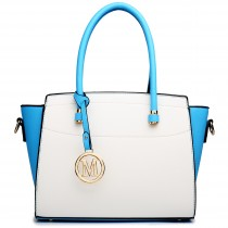 LT1625 - Miss Lulu Leather Look Classic Shoulder Bag Blue And White