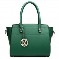 LT1625 - Miss Lulu Leather Look Classic Shoulder Bag Green